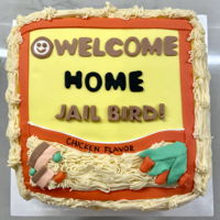 Ramen Welcome Home Cake Cake decorated with fondant and buttercream