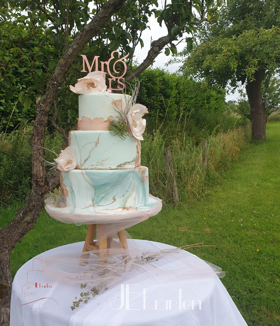 Green And Blsh Marbled Summer Wedding Cake on Cake Central