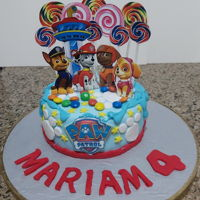 Paw Patrol Chocolate cake covered in fondant