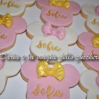 Minnie Cookies Minnie Mouse cookies with name engraved in gold color