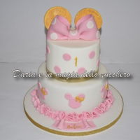 Minnie Mouse Cake Minnie themed cake, very delicate in its pink and gold colors, for Sofia's 1st birthday ..