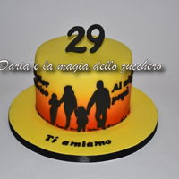 Silhouette Family Cake for the birthday of a young husband and dad, family themed cake made with airbrush